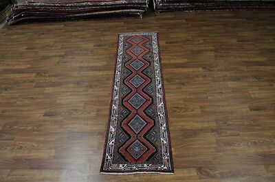 Wonderful Hallway Handmade Chenar Hamedan Persian Runner Oriental Carpet 2'6X10