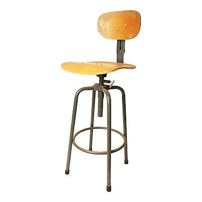 Vintage INDUSTRIAL STOOL swivel steel metal chair seat steampunk drafting table