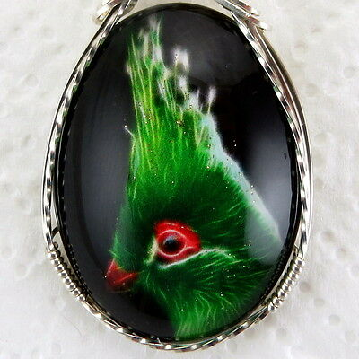 Tropical Green Bird Glitter Glass Cameo Pendant .925 Sterling Silver Jewelry