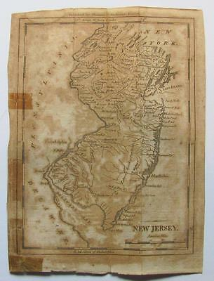 ca. 1796 NEW JERSEY NY PA DE MAP PUBLISHED by THOMAS and ANDREWS of BOSTON MA