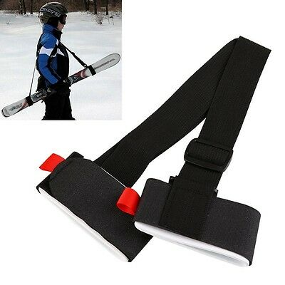 Adjustable Black Ski Snowboard Shoulder Strap Carrier Lash Handle Strap