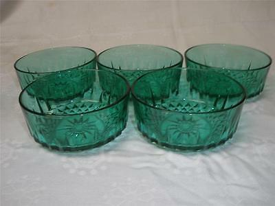 Retro Green Glass Patterned Sweets Dishes X 5
