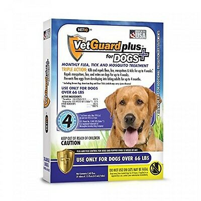 VetGuard Plus Flea & Tick Treatment for XLarge Dogs, Over 66 lbs, 4 Month