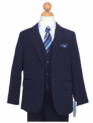 BOYS HOLIDAY PINSTRIPE SUIT, NAVY BLUE/WHITE Size: 2T to 16