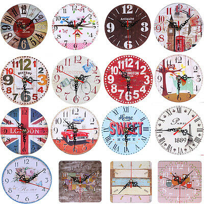 Wooden Wall Clock Large Shabby Chic Rustic Kitchen Home Antique Decor