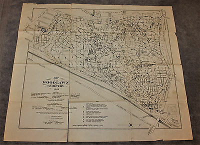 Vintage Map Of Woodlawn Cemetery Bronx Ny 1943