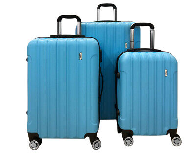 TODO ULTRA LIGHT LUGGAGE SET 3pcs HARD SHELL COMBINATION LOCKS BLUE