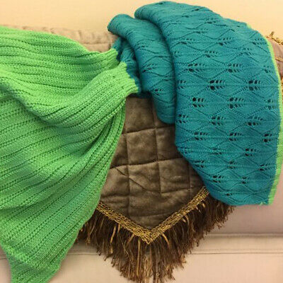 Knitted Mermaid Tail Blanket Crochet Leg Wrap Adult Kids Child Emerald Pool