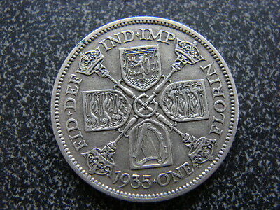 King George V 1935 Florin 2 shillings Good Grade 0.500 silver coin