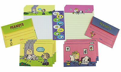 Adorable letter set ~ Peanuts SNOOPY & Charlie Papers + Envelope + Stickers (A)