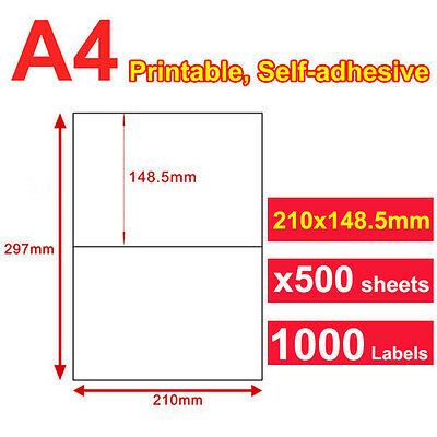 500 Sheet 2 up 210 x 148.5mm Peel & Paste Label A4 Office Mailing Address labels