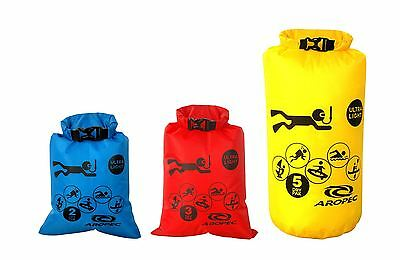 Aropec Delta Ultra Lightweight Dry Bags Set of 3 Yellow/Red/Blue 5/3/2L Capacity