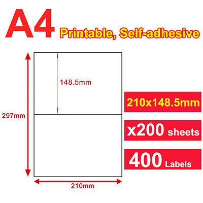 200 x 2 UP 210x148.5mm Label A4 White Self Adhesive Sticker Paper Laser Inkjet