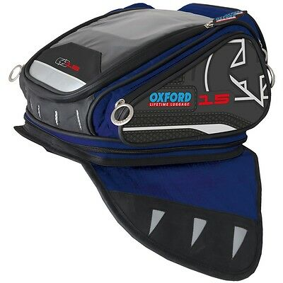 Oxford Luggage X15 Motorcycle Motorbike Magnetic Expandable Tank Bag Blue 15 L