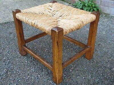 Edwardian antique Arts Crafts solid oak rush seat country style stool footstool