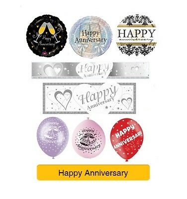 HAPPY/HAPPY WEDDING ANNIVERSARY Party Banners, Balloons, Decorations
