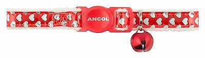 Ancol Reflective Gloss Hearts Safety Cat Collar RED