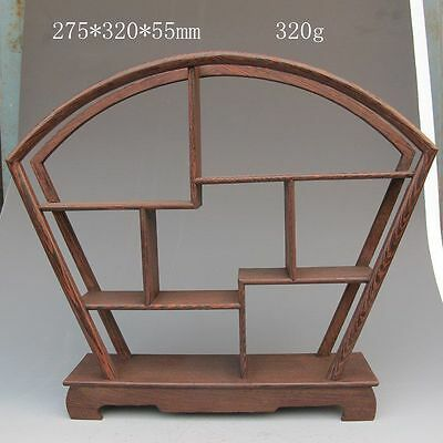 Chinese Fan-Shaped Wood Tand/shelf For Netsuke/snuff Bottles Curios Cq50172