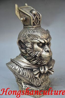 Boutique Collectible Chinese Silver Copper Old Handwork Monkey Head Statues