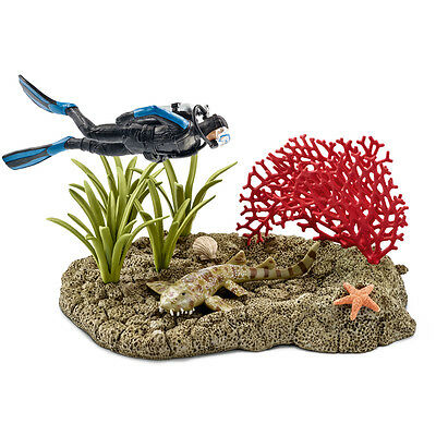 Schleich Wild Life Coral Reef Diver Figure & Scenery NEW