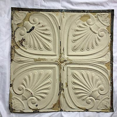 "1890's 24"" x 24"" Antique Reclaimed Tin Ceiling Tile Ivory Tan 294-17 Anniversary"