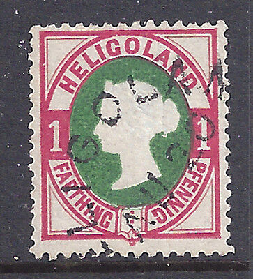 Heligoland Stamp 1875 1pf Victoria Rose & Green (#14) Signed U $600