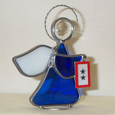 Blue 2 Star Mother's Flag New Leaded Stained Glass Angel BSF Handmade in America