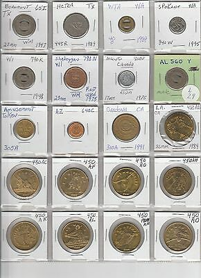 LOT OF 20 DIFFERENT VINTAGE TRANSIT TOKENS  L29 as shown