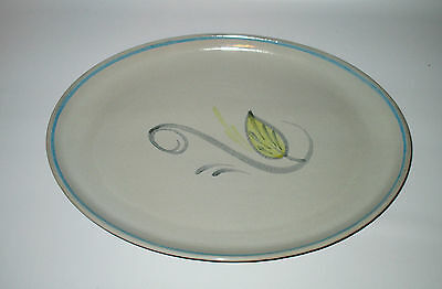 """Denby Peasant Ware Platter 12.5"""" Oval Grey Yellow 1950s Stoneware England"""