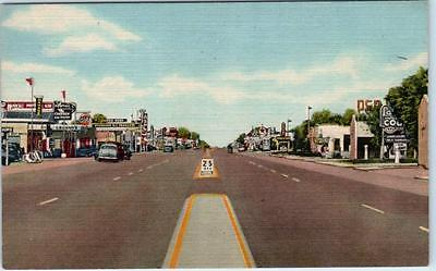 TUCUMCARI, New Mexico  NM   Highway ROUTE 66  ca1940s  Linen  Postcard