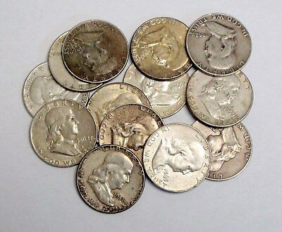 Roll of 20 Circulated, Assorted Franklin Half Dollars (90% Silver)