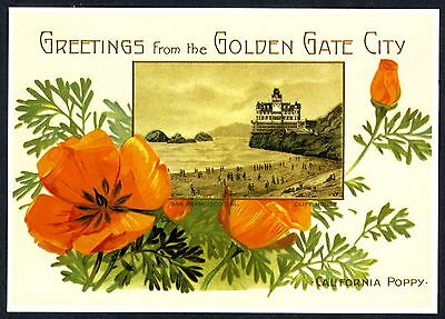 SAN FRANCISCO GOLDEN GATE CITY CLIFF HOUSE GREETINGS~NEW 1981 POSTCARD w/POPPIES