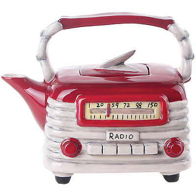 NEW Blue Sky Decorative Handpainted Ceramic Retro Styled Red Radio Shaped Teapot