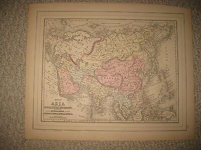 Fine Antique 1884 Asia Mitchell Map Persia Arabia China Hindostan India Formosa