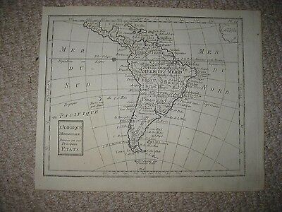 Antique 1750 South America Copperplate Map Tera Firma Magellan Brazil Peru Chile