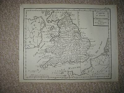 Fine Antique 1750 England Copperplate Map Cornwall Sussex Essex Suffolk County