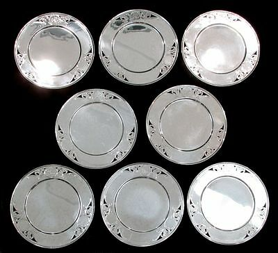 """Exceptional Vintage Gorham Sterling Silver 8 Reticulated 10"""" Plate Set"""