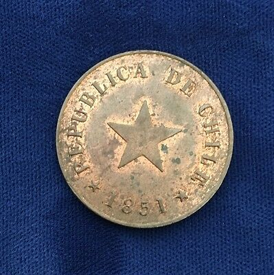 Chile  Republic  1851   1 Centavo Coin, Almost Uncirculated And Very Nice!