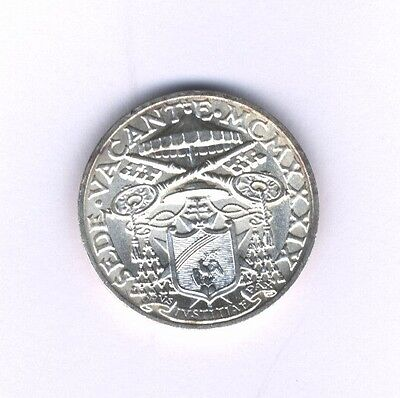 "Vatican City  ""sede Vacante""   1939  10 Lire Silver Coin, Choice Uncirculated"