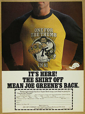 1980 Pittsburgh Steelers Mean Joe Greene 'One for the Thumb' T-Shirt vintage Ad