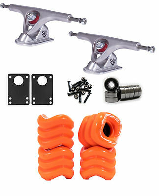 SHARK WHEELS Longboard Package 60mm ORANGE PARIS 180MM RAW Trucks with Bearings