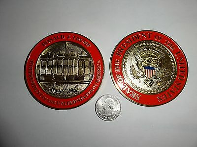 Challenge Coin Donald Trump 45Th President White House Huge 3 Inches Gold Toned