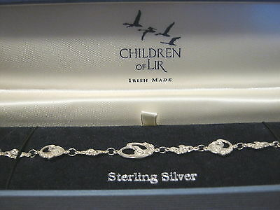 "Vintage ""children Of Lir"" Irish Made Sterling ""swan"" Bracelet   925"