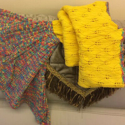 Knitted Mermaid Tail Blanket Crochet Leg Wrap Adult Kids Child Yellow
