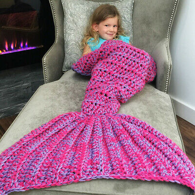 Knitted Mermaid Tail Blanket Crochet Leg Wrap Adult Kids Child Amethyst Purple