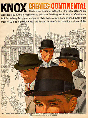 1957 vintage men's fashion AD KNOX HATS Continental Collection  052115