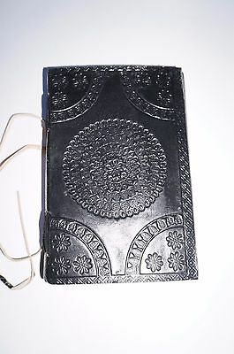 Leather Book shadows spells Journal Keepsake handmade diary flower Mandala BLACK