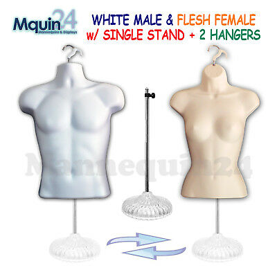 2 Mannequin Torsos - White Male + Flesh Female Dress Form w/ 2 Hangers & 1 Stand