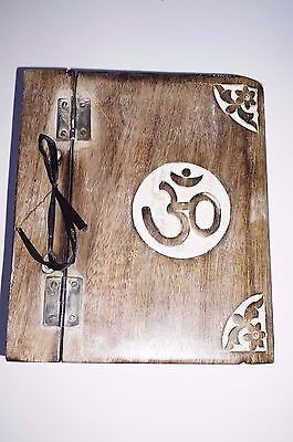 Journal Keepsake Wooden Carved Aum Om book Wicca spell  handmade diary white