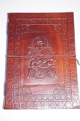 Leather handcrafted book Journal Keepsake handmade diary Ganesha LARGE
